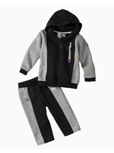 Infants Puma BMW Motor Sport Jogger Set Tracksuit Grey & Black inc Pants Hoodie